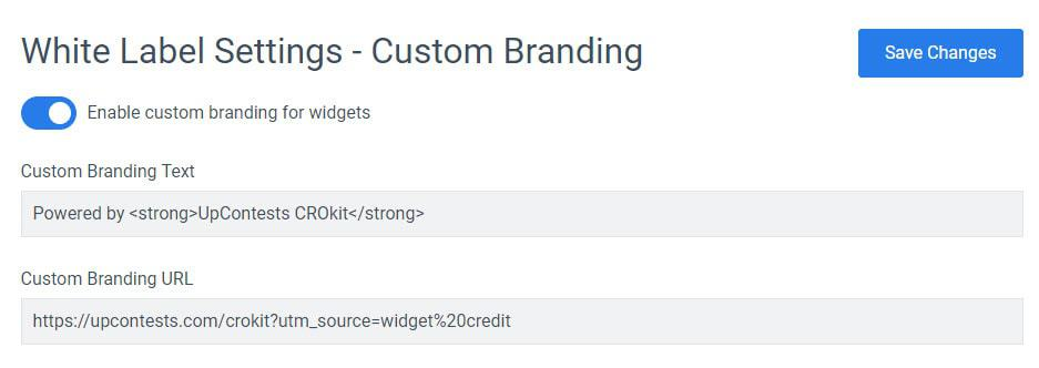 custom branding - white label settings convertful