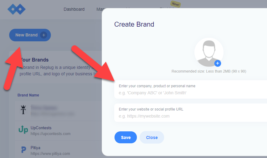 create brand in replug