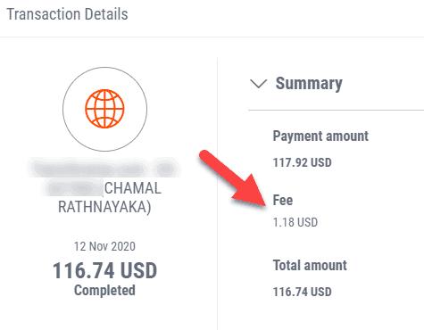 Payoneer transaction fees