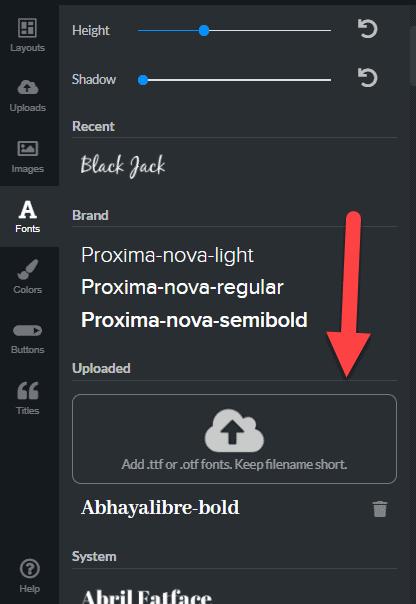 upload fonts
