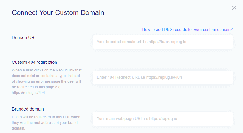 connect custom domain by adding details