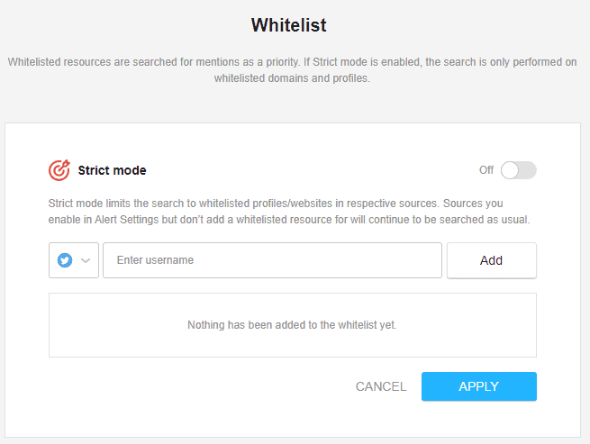 Whitelist in Awario