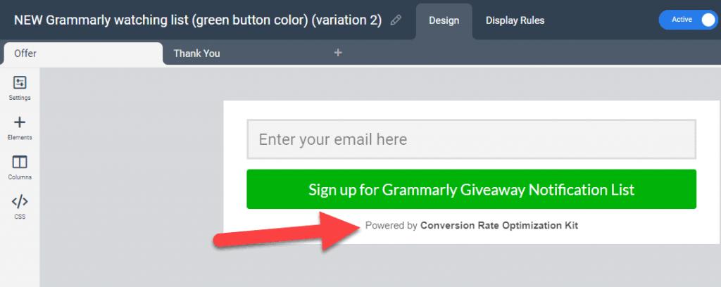 Attribution in widgets editor