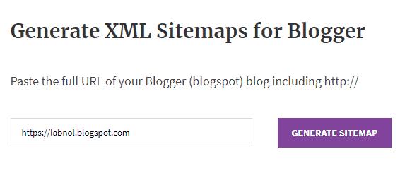 Generate XML sitemap for Blogger