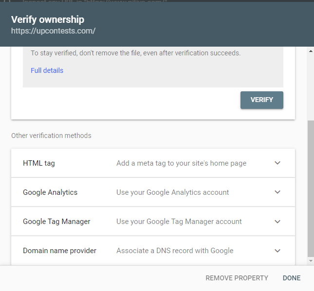 domain verification methods on Google search console