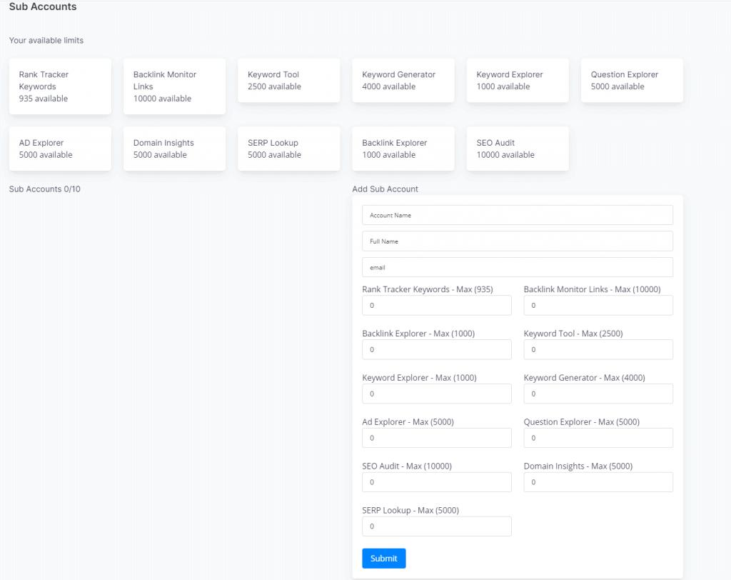Add sub-account on BrandOverflow
