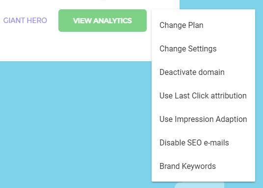 Keyword Hero domain settings menu