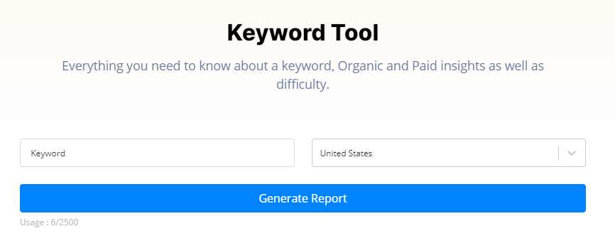 Generate a Keyword report