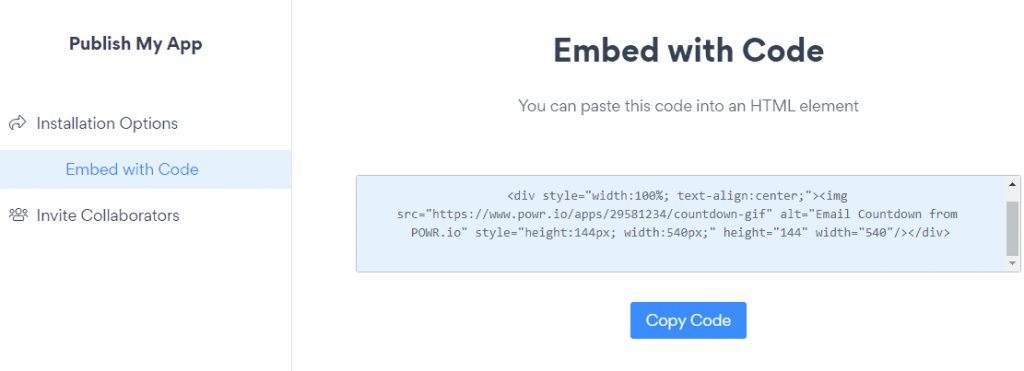 HTML email countdown timer code
