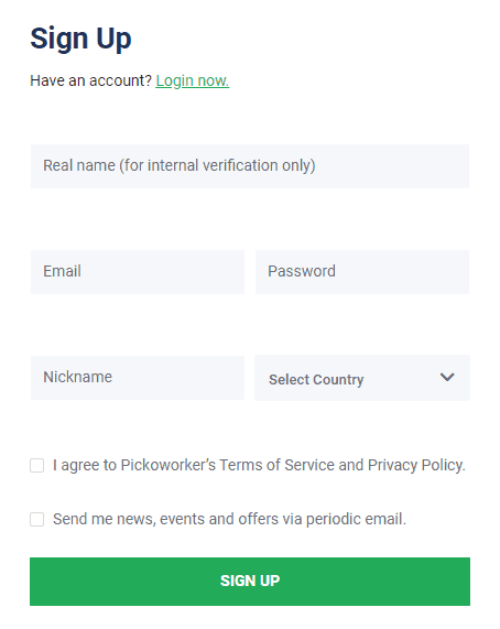 sign up on Picoworkers