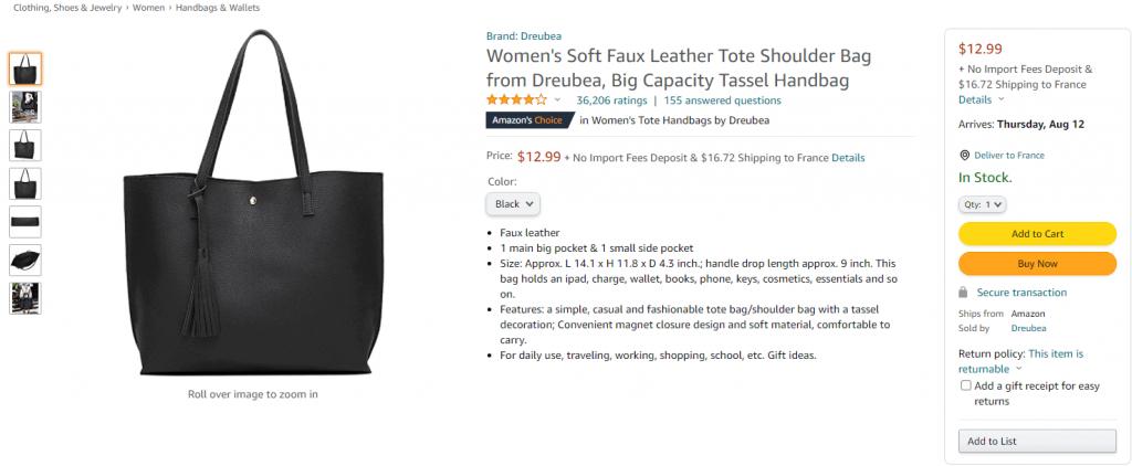 Amazon ecom product page for Women's Hangbag