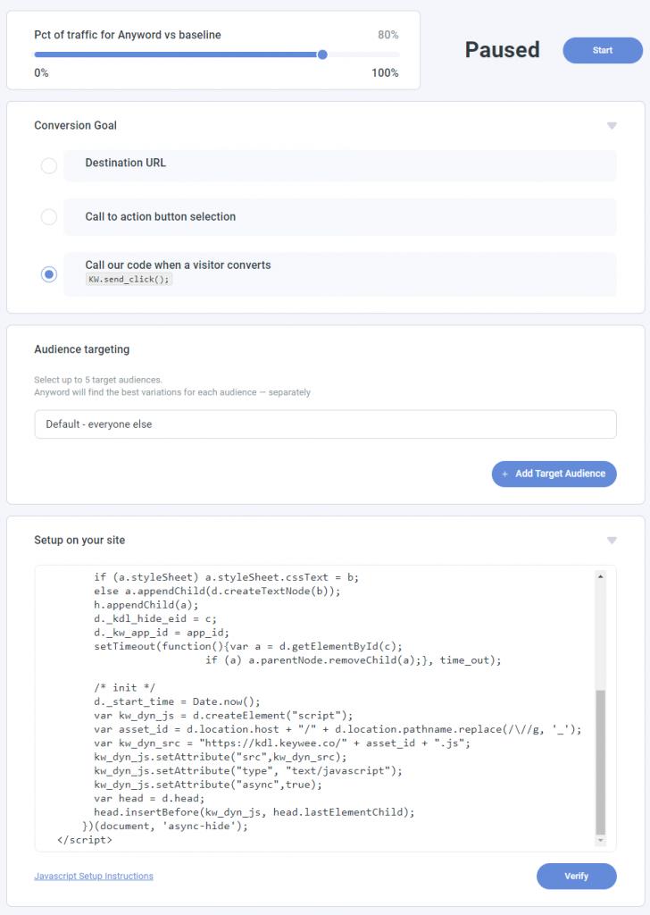 Anyword Continuous Optimization tool