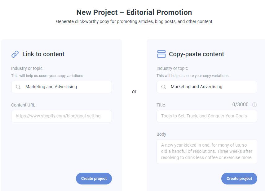Anyword AI Editorial Promotion creator