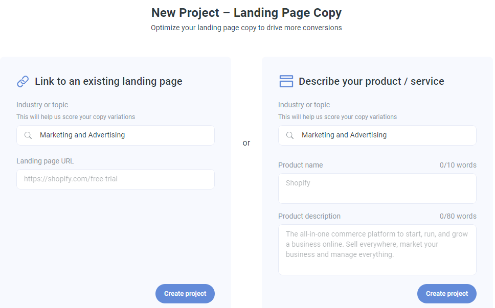 Landing page copy generator settings in Anyword.com