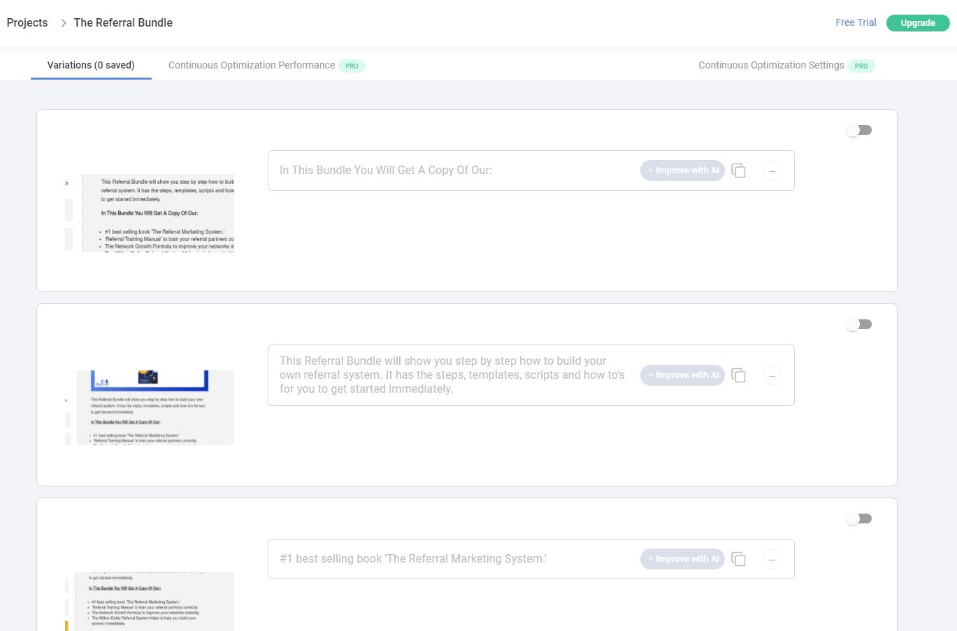 Anyword landing page copy generator dashboard