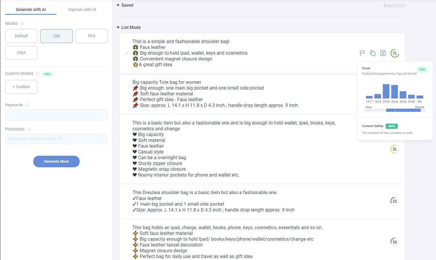 The List ad copy variants