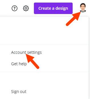 canva account settings