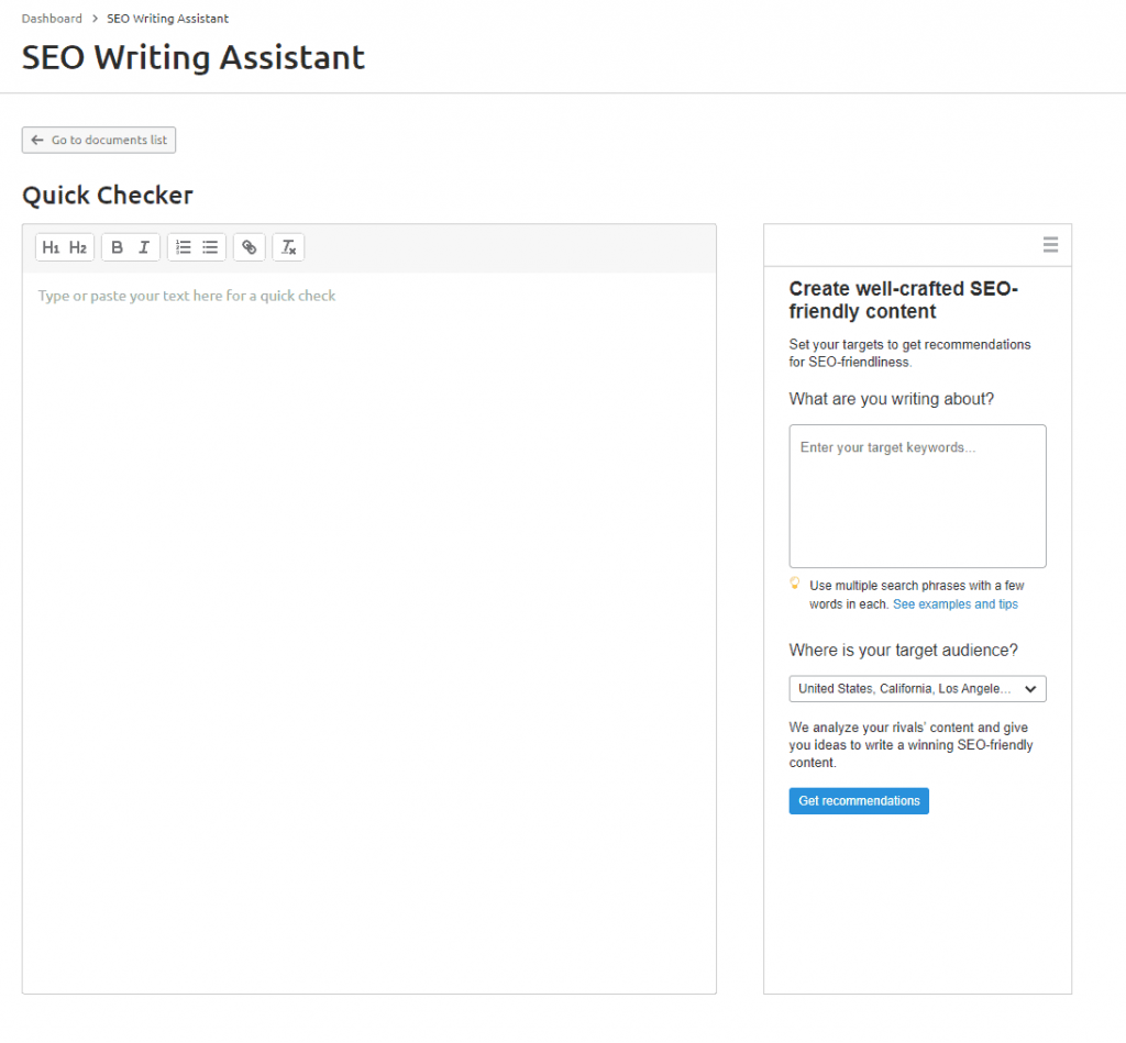 quick-checker-Semrush-SEO-Writing-Assistant